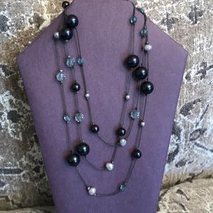 "48"" Beaded Necklace, Black, Silver & Gray"